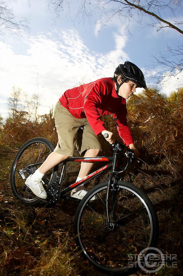 Sam Behr riding Islabikes Benin bike..Wentworth , Surrey     October 2007..pic copyright Steve Behr / Stockfile