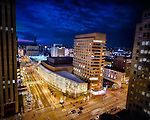 Benjamin and Marian Schuster Center of Performing Arts building at dusk. Downtown Dayton Ohio. Tenth Anniversary photo