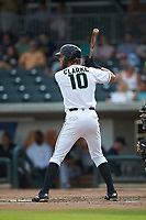 Zander Clarke (10) of the Augusta GreenJackets at bat against the Kannapolis Intimidators at SRG Park on July 6, 2019 in North Augusta, South Carolina. The Intimidators defeated the GreenJackets 9-5. (Brian Westerholt/Four Seam Images)