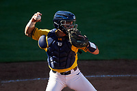 Michigan Wolverines catcher Marcus Chavez (12) throws down to second base during a game against Army West Point on February 17, 2018 at Tradition Field in St. Lucie, Florida.  Army defeated Michigan 4-3.  (Mike Janes/Four Seam Images)