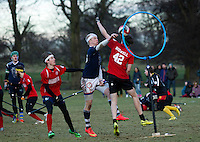 08 MAR 2015 - NOTTINGHAM, GBR - Radcliffe Chimeras' Tom Heynes shoots during the 2015 British Quidditch Cup final against Southampton Quidditch Club  at Woollaton Hall and Deer Park in Nottingham, Great Britain. 24 teams took part in the championships which were won by Southampton Quidditch Club 1 who beat reigning European Cup holders Radcliffe Chimeras 120-90 (PHOTO COPYRIGHT © 2015 NIGEL FARROW, ALL RIGHTS RESERVED)