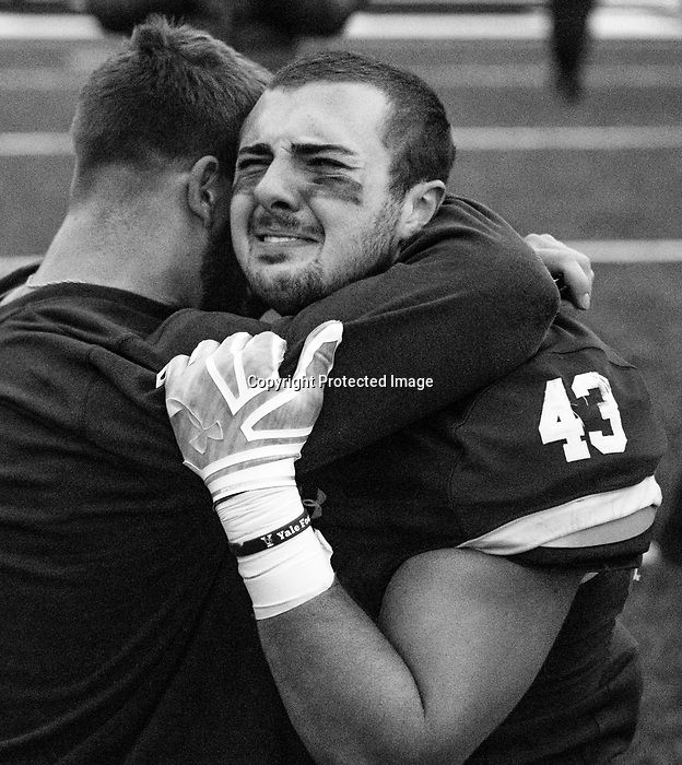 "November 23, 2019:  #43 John Dean shows emotion as Yale ends a stunning comeback. The Yale Bulldogs defeat Harvard in double ""OT"" 50-43 as the Eli's came from down 17 late in the fourth quarter, including recovering an onside kick with a minute left at the Yale Bowl in New Haven Connecticut. Dan Heary/Eclipse Sportswire/CSM"