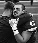 """November 23, 2019:  #43 John Dean shows emotion as Yale ends a stunning comeback. The Yale Bulldogs defeat Harvard in double """"OT"""" 50-43 as the Eli's came from down 17 late in the fourth quarter, including recovering an onside kick with a minute left at the Yale Bowl in New Haven Connecticut. Dan Heary/Eclipse Sportswire/CSM"""