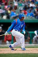 South Bend Cubs center fielder Luis Ayala (30) follows through on a swing during a game against the Kane County Cougars on May 3, 2017 at Four Winds Field in South Bend, Indiana.  South Bend defeated Kane County 6-2.  (Mike Janes/Four Seam Images)