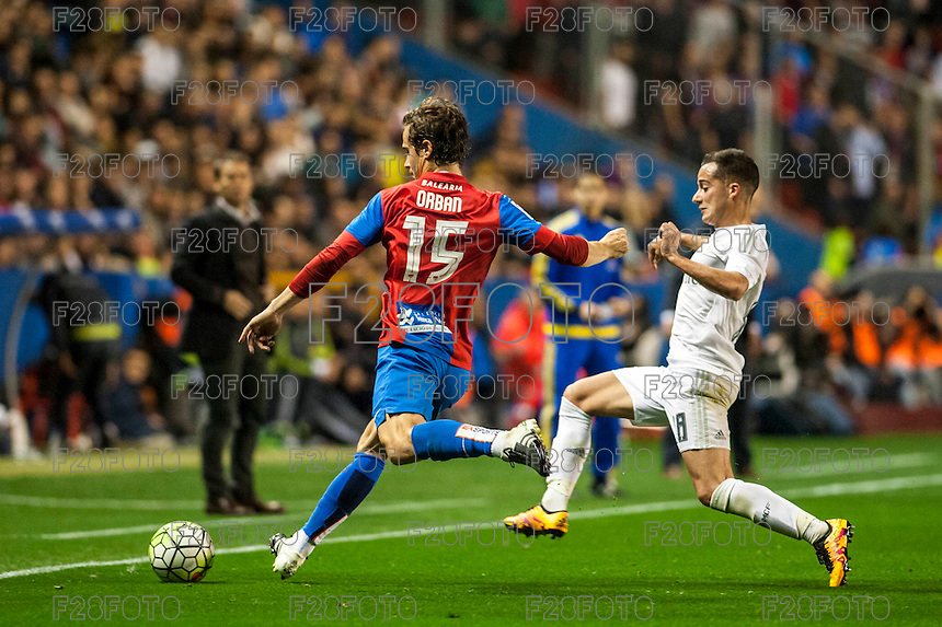 VALENCIA, SPAIN - MARCH 2: Orban, Lucas during BBVA League match between VLevante U.D. and R. Madrid at Ciudad de Valencia Stadium on March 2, 2015 in Valencia, Spain
