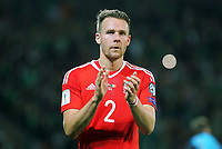 Chris Gunter of Wales applauds home supporters during the FIFA World Cup Qualifier Group D match between Wales and Republic of Ireland at The Cardiff City Stadium, Wales, UK. Monday 09 October 2017