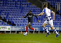 10th February 2021; Madejski Stadium, Reading, Berkshire, England; English Football League Championship Football, Reading versus Brentford; Josh Dasilva of Brentford sprinting with the ball while being marked by Michael Morrison of Reading
