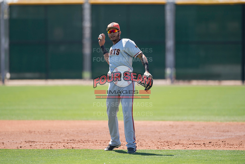 San Francisco Giants shortstop Wander Franco (15) during a Minor League Spring Training game against the Arizona Diamondbacks at Salt River Fields at Talking Stick on March 28, 2018 in Scottsdale, Arizona. (Zachary Lucy/Four Seam Images)