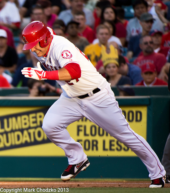 Mike Trout breaks for second to steal the base against the Seattle Mariners.