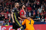 Atletico de Madrid's Diego Costa and Juventus' Leonardo Bonucci (L) and Wojciech Szczesny (R) during UEFA Champions League match, Round of 16, 1st leg between Atletico de Madrid and Juventus at Wanda Metropolitano Stadium in Madrid, Spain. February 20, 2019. (ALTERPHOTOS/A. Perez Meca)