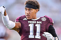 Texas A&M wide receiver Josh Reynolds (11) warms up before NCAA Football game kickoff, Saturday, September 06, 2014 in College Station, Tex.(Mo Khursheed/TFV Media via AP Images)