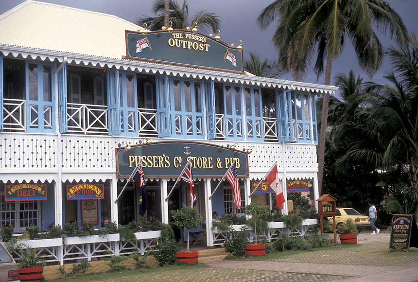 AJ2375, British Virgin Islands, Tortola, Caribbean, Virgin Islands, BVI, B.V.I., Pusser's Store and Pub in Road Town on the island of Tortola on the British Virgin Islands.