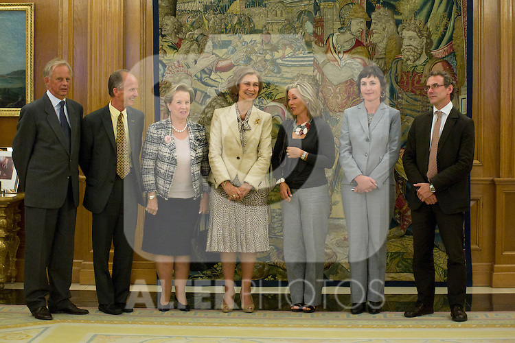 13.09.2012. Queen Sofia of Spain attends in audience a group of Fundación Félix Rodríguez de la Fuente and the Executive Committee of ´10th World Wilderness Congress´, chaired by Ms Marcelle Genevieve Parmentier Lepied in the Zarzuela Palace, Madrid. In the image Queen Sofia and Marcelle Genevieve Parmentier Lepied (Alterphotos/Marta Gonzalez)