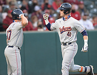 Auburn second baseman Steven Williams (41) is congratulated at the plate by catcher Ryan Dyal after hitting a solo home run during the fourth inning Friday, April 2, 2021, during the inning of play against Arkansas at Baum-Walker Stadium in Fayetteville. Visit nwaonline.com/210403Daily/ for today's photo gallery. <br /> (NWA Democrat-Gazette/Andy Shupe)