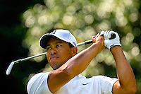 PGA golfer Tiger Woods watches a shot during the 2007 Wachovia Championships at Quail Hollow Country Club in Charlotte, NC.