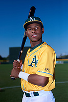 AZL Athletics Gold Ramon Martinez (23) poses for a photo before an Arizona League game against the AZL Rangers on July 15, 2019 at Hohokam Stadium in Mesa, Arizona. The AZL Athletics Gold defeated the AZL Rangers 9-8 in 11 innings. (Zachary Lucy/Four Seam Images)