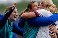 CARSON, CA - FEBRUARY 9: Lindsey Horan #9 of the United States celebrates with Tobin Heath #17 during a game between Canada and USWNT at Dignity Health Sports Park on February 9, 2020 in Carson, California.