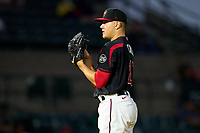 Rochester Red Wings pitcher Cade Cavalli (19) during a game against the Worcester Red Sox on September 4, 2021 at Frontier Field in Rochester, New York.  (Mike Janes/Four Seam Images)