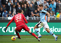 Football, Serie A: S.S. Lazio - Spal, Olympic stadium, Rome, February 2, 2020. <br /> Lazio's captain Ciro Immobile (r) is going to score his second goal in the match in spite of  Spal's goalkeeper Etrit Berisha (l) during the Italian Serie A football match between S.S. Lazio and Spali at Rome's Olympic stadium, Rome , on February 2, 2020. <br /> UPDATE IMAGES PRESS/Isabella Bonotto