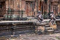 Cambodia, Banteay Srei, Tenth Century A.D.  Facing the Central sanctuary.