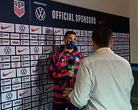 NASHVILLE, TN - SEPTEMBER 5: Sebastian Lletget #17 of the United States talks to the media during a game between Canada and USMNT at Nissan Stadium on September 5, 2021 in Nashville, Tennessee.