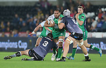 Connacht number 8 George Naoupu crashes into Ospreys pair Aaron Jarvis and Rynier Bernardo.<br /> Guiness Pro12<br /> Ospreys v Connacht<br /> Liberty Stadium<br /> 31.10.14<br /> ©Steve Pope-SPORTINGWALES