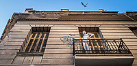 Pictured: A mannequin on a balcony at Ermou Street.<br /> Re: Street photography, Athens, Greece. Thursday 27 February 2020