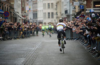 Everybody wants a high-five from World Champion Peter Sagan (SVK/Tinkoff) on the way to the start in the streets of Bruges<br /> <br /> 100th Ronde van Vlaanderen 2016