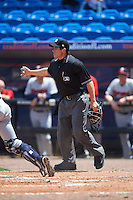 Umpire Mike Savakinas during a game between the Brevard County Manatees and St. Lucie Mets on April 17, 2016 at Tradition Field in Port St. Lucie, Florida.  Brevard County defeated St. Lucie 13-0.  (Mike Janes/Four Seam Images)