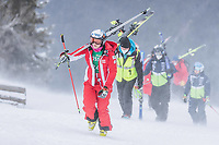 28th December 2020; Semmering, Austria; FIS Womens Giant Slalom World Cu Skiing; A storm rises during for women Giant Slalom of FIS ski alpine world cup and prevented the second run of for womens giant slalom on Semmering as Ramona Siebenhofer of Austria walks to the bottom