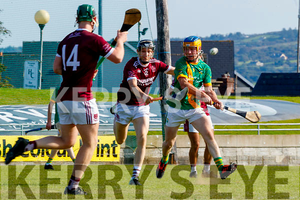 Paudie O'Connor, Kilmoyley in action against Colm Harty, Causeway during the Kerry County Senior Hurling Championship Final match between Kilmoyley and Causeway at Austin Stack Park in Tralee