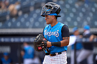 Tampa Tarpons catcher Carlos Narvaez (5) warms up the pitcher during a game against the Fort Myers Mighty Mussels on May 23, 2021 at George M. Steinbrenner Field in Tampa, Florida.  (Mike Janes/Four Seam Images)