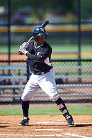 GCL Yankees West second baseman Daniel Barrios (33) at bat during a game against the GCL Yankees East on August 3, 2016 at the Yankees Complex in Tampa, Florida.  GCL Yankees East defeated GCL Yankees West 12-2.  (Mike Janes/Four Seam Images)