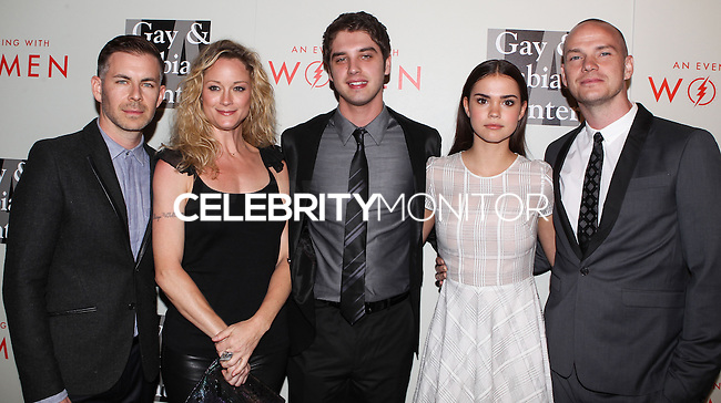 """BEVERLY HILLS, CA, USA - MAY 10: Brad Bredeweg, Teri Polo, David Lambert, Maia Mitchell, Peter Paige at the """"An Evening With Women"""" 2014 Benefiting L.A. Gay & Lesbian Center held at the Beverly Hilton Hotel on May 10, 2014 in Beverly Hills, California, United States. (Photo by Celebrity Monitor)"""