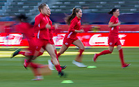 CARSON, CA - FEBRUARY 07: The Canadian women's national team warming up during a game between Canada and Costa Rica at Dignity Health Sports Park on February 07, 2020 in Carson, California.