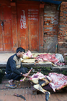butcher cutting a buffalo, sacrificed during dashain festival time in Bhaktapur, Nepal. October 2011