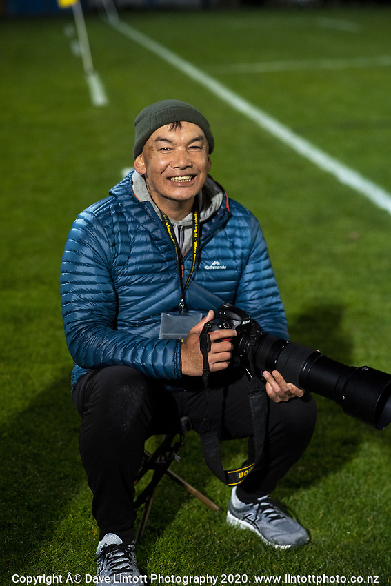 Photographer Masanori Udagawa at the Wellington 1st XV girls secondary schools premier one rugby final between St Mary's College and Tawa College at Porirua Park in Wellington, New Zealand on Wednesday, 16 September 2020. Photo: Dave Lintott / lintottphoto.co.nz