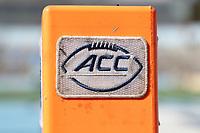 CHAPEL HILL, NC - NOVEMBER 14: ACC football end zone pylon during a game between Wake Forest and North Carolina at Kenan Memorial Stadium on November 14, 2020 in Chapel Hill, North Carolina.
