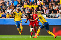 Gothenburg, Sweden - Thursday June 08, 2017: Nilla Fischer, Crystal Dunn during an international friendly match between the women's national teams of Sweden (SWE) and the United States (USA) at Gamla Ullevi Stadium.