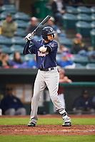 New Hampshire Fisher Cats designated hitter Emilio Guerrero (13) at bat during a game against the Altoona Curve on May 11, 2017 at Peoples Natural Gas Field in Altoona, Pennsylvania.  Altoona defeated New Hampshire 4-3.  (Mike Janes/Four Seam Images)