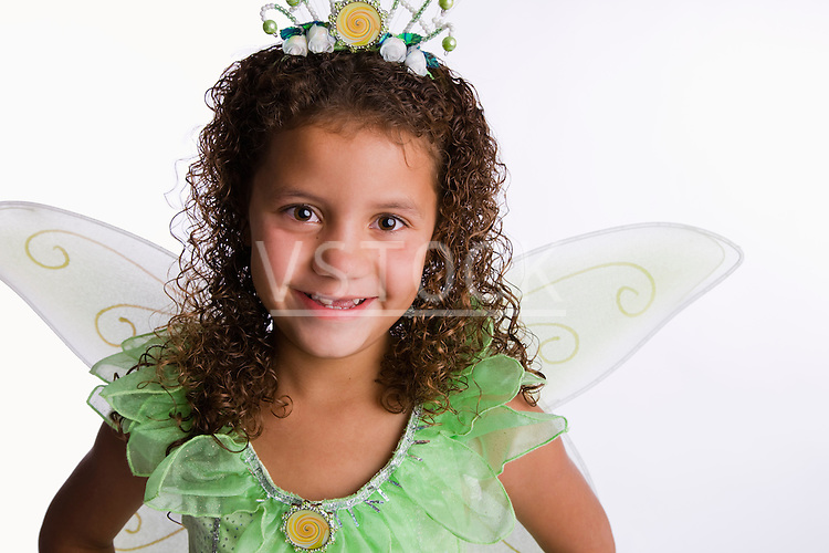 USA, Illinois, Metamora, Portrait of girl (8-9) in fairy costume
