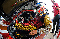 Ozz Negri climbs into the #60 Michael Shank Racing Ford/Riley for practice.