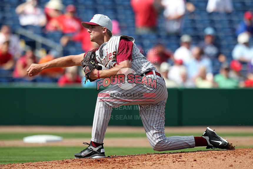 Florida State Seminoles pitcher Gage Smith #19 delivers a pitch during a scrimmage against the Philadelphia Phillies at Brighthouse Field on February 29, 2012 in Clearwater, Florida.  Philadelphia defeated Florida State 6-1.  (Mike Janes/Four Seam Images)