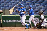 Memphis Tigers Hunter Goodman (35) bats during an American Athletic Conference Baseball Championship game against the UCF Knights on May 27, 2021 at BayCare Ballpark in Clearwater, Florida.  (Mike Janes/Four Seam Images)