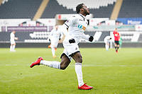 Sunday 18 March 2018<br /> Pictured:  Botti Biabi of Swansea City celebrates scoring his sides first goal of the match <br /> Re: Swansea City v Manchester United U23s in the Premier League 2 at The Liberty Stadium on March 18, 2018 in Swansea, Wales.