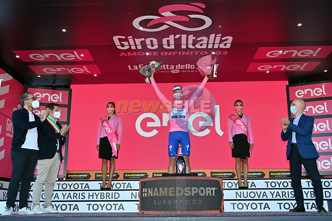 Race leader Joao Almeida (POR) Deceuninck-Quick Step retains the Maglia Rosa at the end of Stage 8 of the 103rd edition of the Giro d'Italia 2020 running 200km from Giovinazzo to Vieste, Sicily, Italy. 10th October 2020.  <br /> Picture: LaPresse/Gian Mattia D'Alberto | Cyclefile<br /> <br /> All photos usage must carry mandatory copyright credit (© Cyclefile | LaPresse/Gian Mattia D'Alberto)