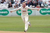 Simon Harmer of Essex celebrates taking the wicket of Nick Gubbins during Essex CCC vs Middlesex CCC, Specsavers County Championship Division 1 Cricket at The Cloudfm County Ground on 29th June 2017