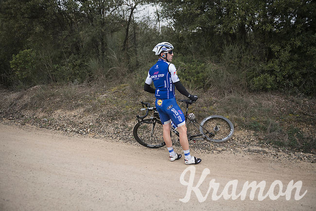 waiting for the team car (after a flat) can take a long time on the gravel sections like here with Ariel Maximiliano Richeze (ARG/QuickStep Floors)<br /> <br /> 11th Strade Bianche 2017