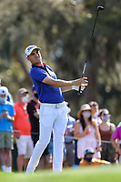 14th March 2021; Ponte Vedra Beach, Florida, USA;  Justin Thomas of the United States plays a tee shot on the 12th hole during the final round of THE PLAYERS Championship on March 14, 2021 at TPC Sawgrass Stadium Course in Ponte Vedra Beach, Fl.