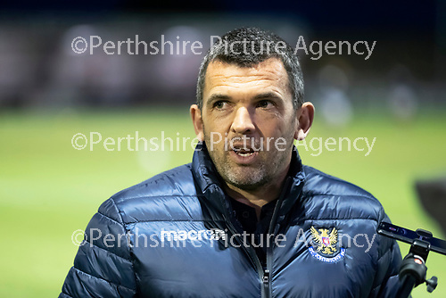 Kelty Hearts v St Johnstone…07.10.20   New Central Park  Betfred Cup<br />St Johnstone manager Callum Davidson is interviewed before kick off<br />Picture by Graeme Hart.<br />Copyright Perthshire Picture Agency<br />Tel: 01738 623350  Mobile: 07990 594431